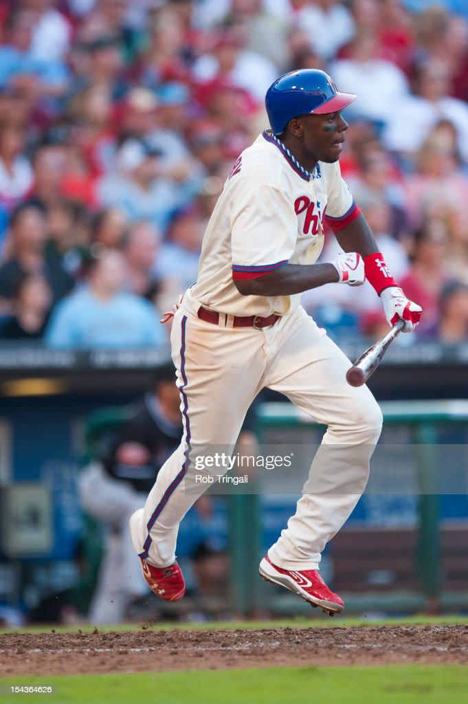 John Mayberry Jr. #15 of the Philadelphia Phillies bats during the game against the Miami Marlins at Citizens Bank Park on September 12, 2012 in Philadelphia, Pennsylvania.
