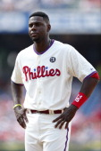 John Mayberry Jr #15 of the Philadelphia Phillies looks on during the game against the Atlanta Braves at Citizens Bank Park on June 28 2014 in...