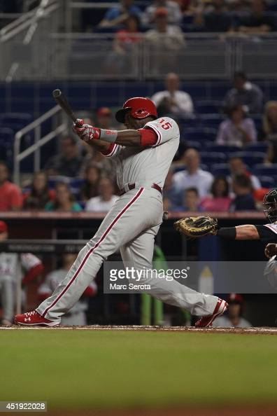 John Mayberry Jr #15 of the Philadelphia Phillies plays against the Miami Marlins at Marlins Park on July 2 2014 in Miami Florida The Marlins...
