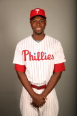 John Mayberry Jr #15 of the Philadelphia Phillies poses during Photo Day on Wednesday February 19 2014 at Bright House Field in Clearwater Florida