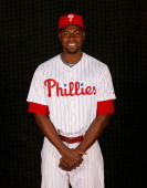 John Mayberry Jr #15 of the Philadelphia Phillies poses for a portrait on February 19 2014 at Bright House Field in Clearwater Florida