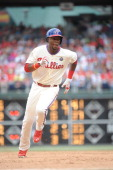 John Mayberry Jr #15 of the Philadelphia Phillies runs during the game against the Cincinnati Reds on May 18 2014 at Citizens Bank Park in...