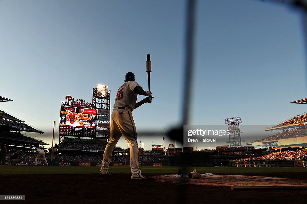 John Mayberry Jr. #15 of the Philadelphia Phillies waits on deck as Ryan Howard #6 is at bat during the game against the Miami Marlins at Citizens Bank Park on September 12, 2012 in Philadelphia, Pennsylvania. The Phillies won 3-1.