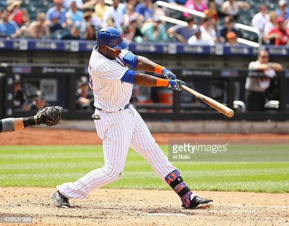 John Mayberry Jr #44 of the New York Mets bats against the Miami Marlins during their game at Citi Field on May 31 2015 in New York City
