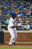 John Mayberry Jr #44 of the New York Mets hits a 2run home run in the fourth inning against the Atlanta Braves at Citi Field on June 12 2015 in...