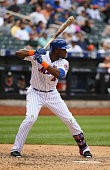 John Mayberry Jr #44 of the New York Mets in action against the Miami Marlins during their game at Citi Field on May 31 2015 in New York City