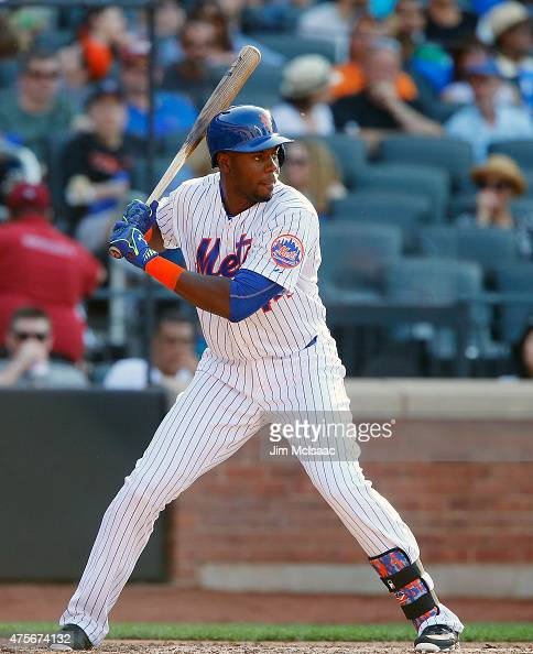 John Mayberry Jr #44 of the New York Mets in action against the Miami Marlins at Citi Field on May 30 2015 in the Flushing neighborhood of the Queens...