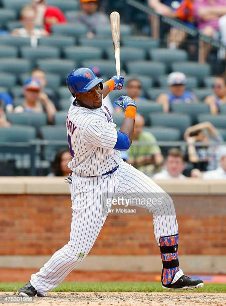 John Mayberry Jr #44 of the New York Mets in action against the Miami Marlins at Citi Field on May 31 2015 in the Flushing neighborhood of the Queens...