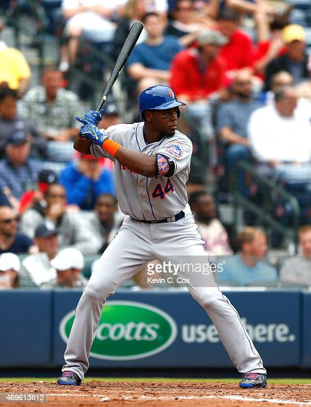 John Mayberry Jr #44 of the New York Mets in action against the Atlanta Braves during the Braves opening series at Turner Field on April 12 2015 in...