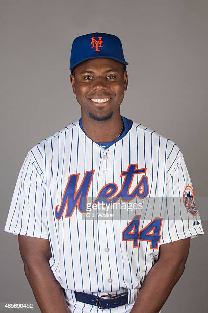 John Mayberry Jr #44 of the New York Mets poses during Photo Day on Saturday February 28 2015 at Tradition Field in Port St Lucie Florida