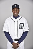 John Mayberry Jr #64 of the Detroit Tigers poses during Photo Day on Saturday February 27 2016 at Joker Marchant Stadium in Lakeland Florida