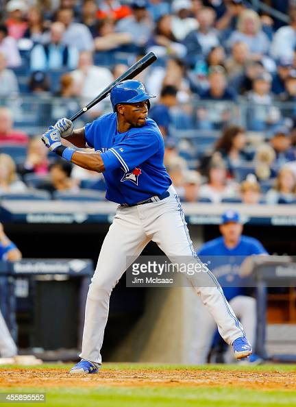 John Mayberry Jr #9 of the Toronto Blue Jays in action against the New York Yankees at Yankee Stadium on September 20 2014 in the Bronx borough of...