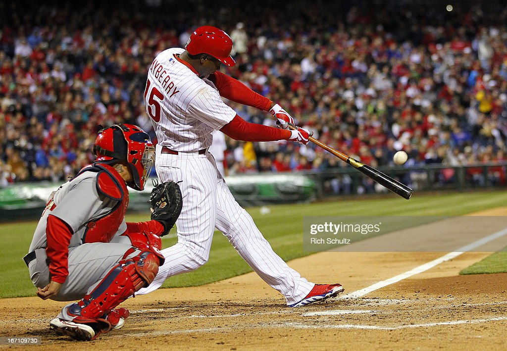 John Mayberry #15 of the Philadelphia Phillies hits a double in the fifth inning against the St. Louis Cardinals in a MLB baseball game on April 20, 2013 at Citizens Bank Park in Philadelphia, Pennsylvania. The Cardinals defeated the Phillies 5-0.