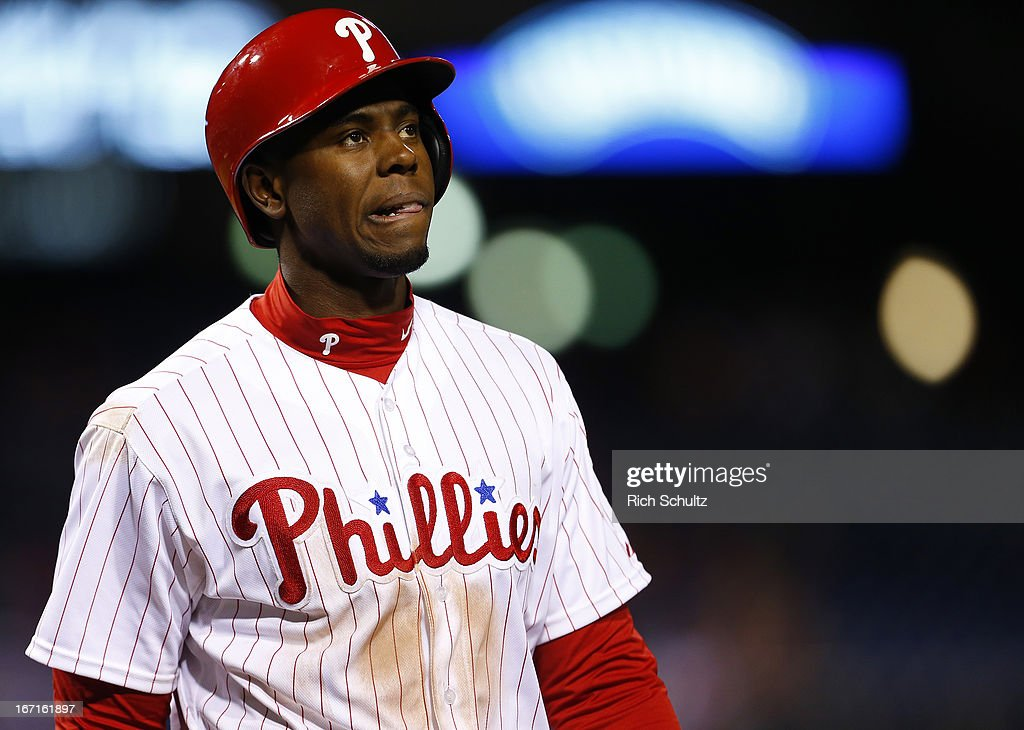 John Mayberry #15 of the Philadelphia Phillies reacts after striking out in the eights inning against of the St. Louis Cardinals during the first inning in a MLB baseball game on April 21, 2013 at Citizens Bank Park in Philadelphia, Pennsylvania. The Phillies defeated the Cardinals 7-3.