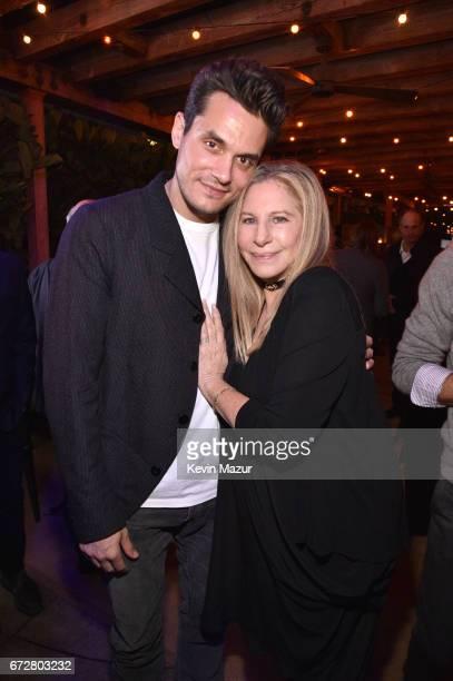John Mayer and Barbra Streisand attend Barbra Streisand's 75th birthday at Cafe Habana on April 24 2017 in Malibu California