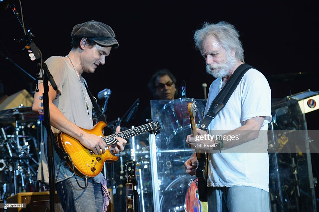 John Mayer and Bob Weir perform onstage with Dead Co at What Stage during Day 4 of the 2016 Bonnaroo Arts And Music Festival on June 9 2016 in...