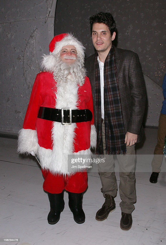 <a gi-track='captionPersonalityLinkClicked' href=/galleries/search?phrase=John+Mayer&family=editorial&specificpeople=201930 ng-click='$event.stopPropagation()'>John Mayer</a> (R) and cast member Eddie Korbich attend 'A Christmas Story, The Musical' Broadway Performance at Lunt-Fontanne Theatre on December 12, 2012 in New York City.