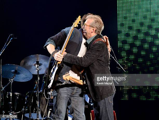 John Mayer and Eric Clapton perform at the Eric Clapton's 70th Birthday Concert Celebration at Madison Square Garden on May 1 2015 in New York City