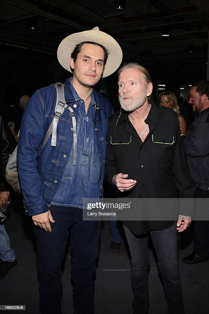 John Mayer (L) and Gregg Allman attend the 2013 Crossroads Guitar Festival at Madison Square Garden on April 13, 2013 in New York City.