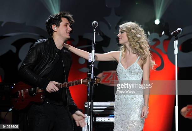 John Mayer and Taylor Swift perform onstage during Z100's Jingle Ball 2009 presented by HM at Madison Square Garden on December 11 2009 in New York...