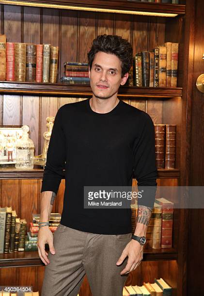 John Mayer attends a private event at Scarfes Bar Rosewood London following his performance at The 02 Arena At the Rosewood London on June 9 2014 in...