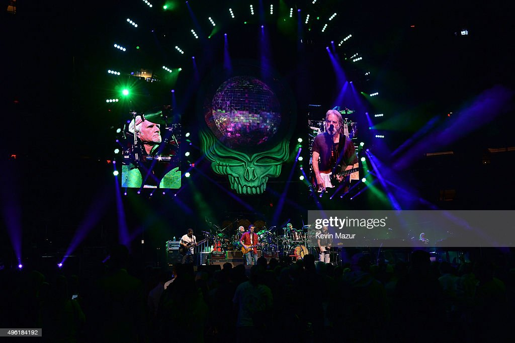 John Mayer, Bob Weir, Oteil Burbridge, Bill Kreutzmann, Mickey Hart, and Jeff Chimenti of Dead & Company perform at American Express Presents: AMEX UNSTAGED Featuring Dead & Company Directed By Brett Ratner at Madison Square Garden on November 7, 2015 in New York City.