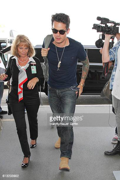 John Mayer is seen at LAX on October 07 2016 in Los Angeles California
