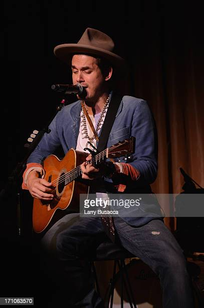 John Mayer perfoms at a luncheon honoring Rob Stringer as UJAFederation of New York Music Visionary of 2013 at The Pierre Hotel on June 21 2013 in...