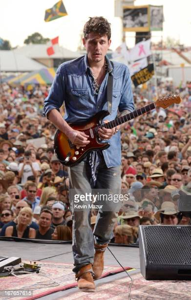 John Mayer performs during the 2013 New Orleans Jazz Heritage Music Festival at Fair Grounds Race Course on April 26 2013 in New Orleans Louisiana