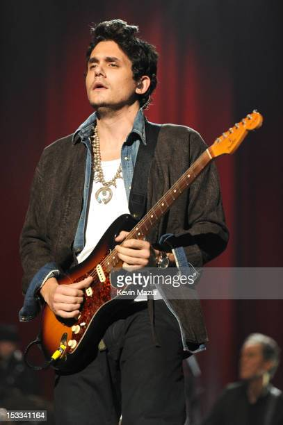 John Mayer performs on stage during 'Love For Levon' Benefit To Save The Barn at Izod Center on October 3 2012 in East Rutherford New Jersey