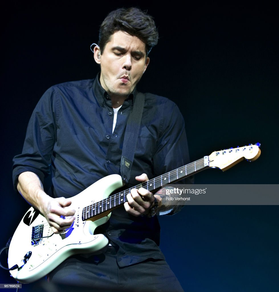 John Mayer performs on stage playing a Fender Stratocaster at Heineken Music Hall on January 13, 2010 in Amsterdam, Netherlands.
