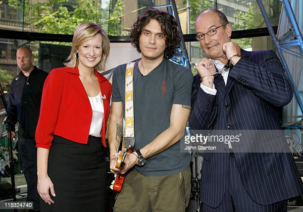 John Mayer with hosts Melissa Doyle and David Koch