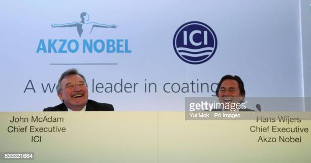 John McAdam CEO of ICI and Hans Wijers of Akzo Nobel at a press conference in The Great Eastern Hotel London ICI one of the most famous names in...