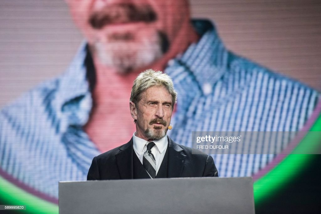 John McAfee founder of the eponymous antivirus company speaks during the China Internet Security Conference in Beijing on August 16 2016 / AFP / FRED...