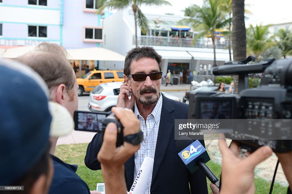 <a gi-track='captionPersonalityLinkClicked' href=/galleries/search?phrase=John+McAfee&family=editorial&specificpeople=1353446 ng-click='$event.stopPropagation()'>John McAfee</a> is sighted in South Beach on December 13, 2012 in Miami Beach, Florida.