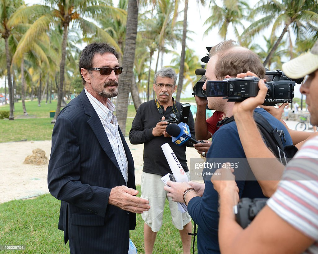 John McAfee is sighted in South Beach on December 13, 2012 in Miami Beach, Florida.
