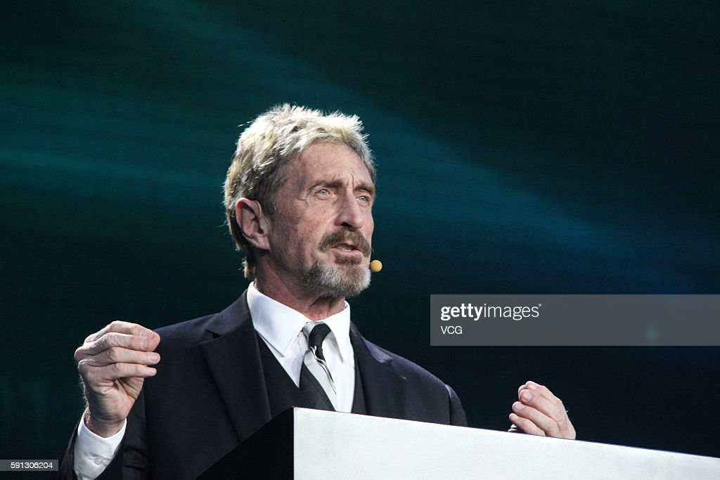 John McAfee makes speech during the China Internet Security Conference on August 16, 2016 in Beijing, China. The conference held in the National Convention Center will last till August 17. 120 top think-tank experts, 19 well-known university professors or scholars, 30 leading security companies and teams, 10 state-level safety research institutions will participate in the event and share the latest research achievements.