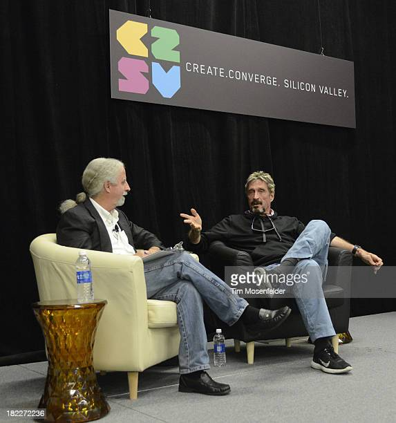 John McAfee participates in a fireside chat at the C2SV Technology Conference Day Three at McEnery Convention Center on September 28 2013 in San Jose...