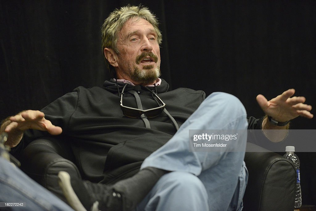 <a gi-track='captionPersonalityLinkClicked' href=/galleries/search?phrase=John+McAfee&family=editorial&specificpeople=1353446 ng-click='$event.stopPropagation()'>John McAfee</a> participates in a fireside chat at the C2SV Technology Conference Day Three at McEnery Convention Center on September 28, 2013 in San Jose, California.