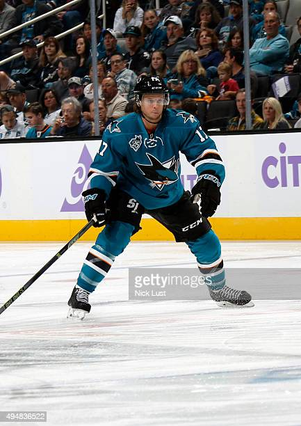John McCarthy of the San Jose Sharks gets in position for a pass against the Carolina Hurricanes during a NHL game at the SAP Center at San Jose on...