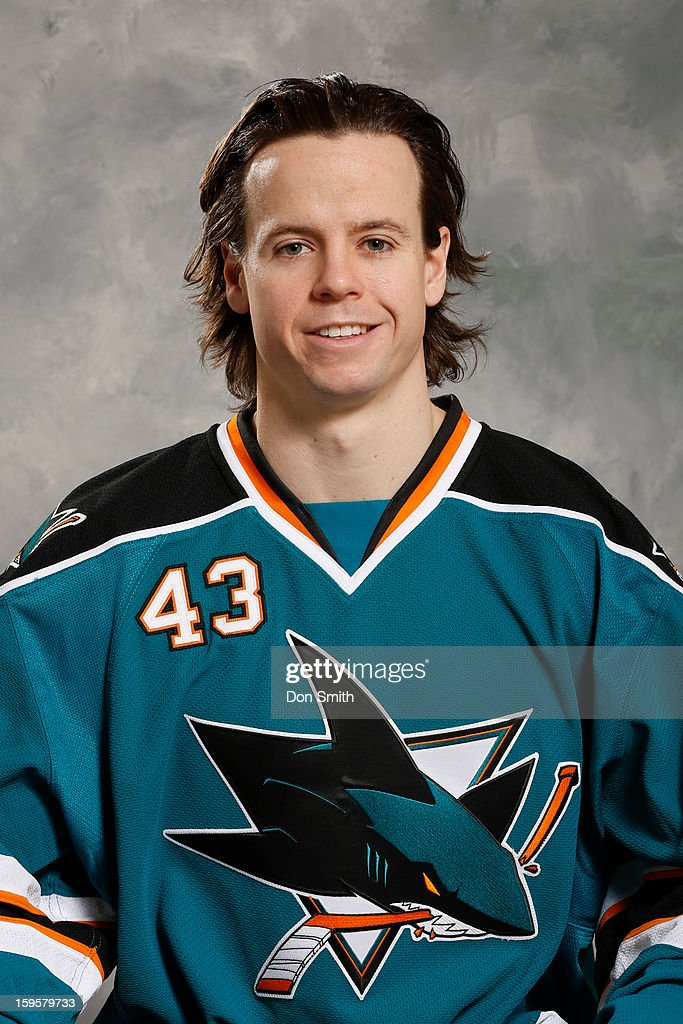 John McCarthy #43 of the San Jose Sharks poses for his official headshot for the 2012-13 season on January 13, 2013 at Sharks Ice in San Jose, California.