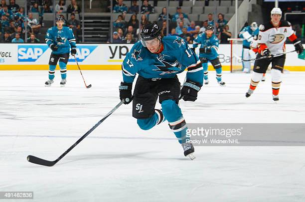John McCarthy of the San Jose Sharks skates against the Anaheim Ducks at SAP Center on September 26 2015 in San Jose California