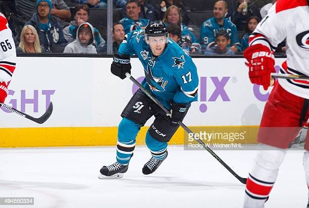 John McCarthy of the San Jose Sharks skates against the Carolina Hurricanes at SAP Center on October 24 2015 in San Jose California