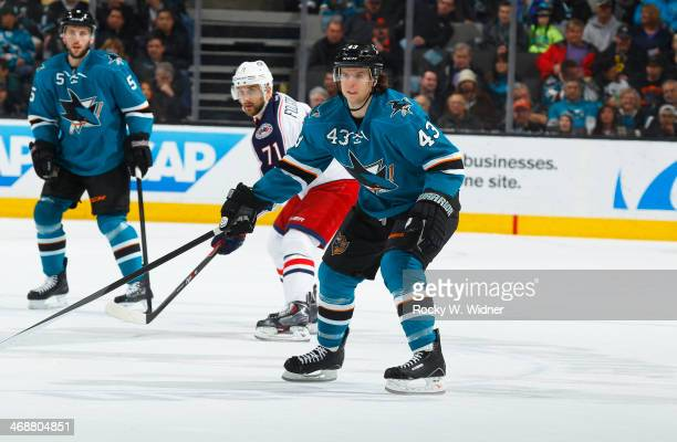 John McCarthy of the San Jose Sharks skates against the Columbus Blue Jackets at SAP Center on February 7 2014 in San Jose California