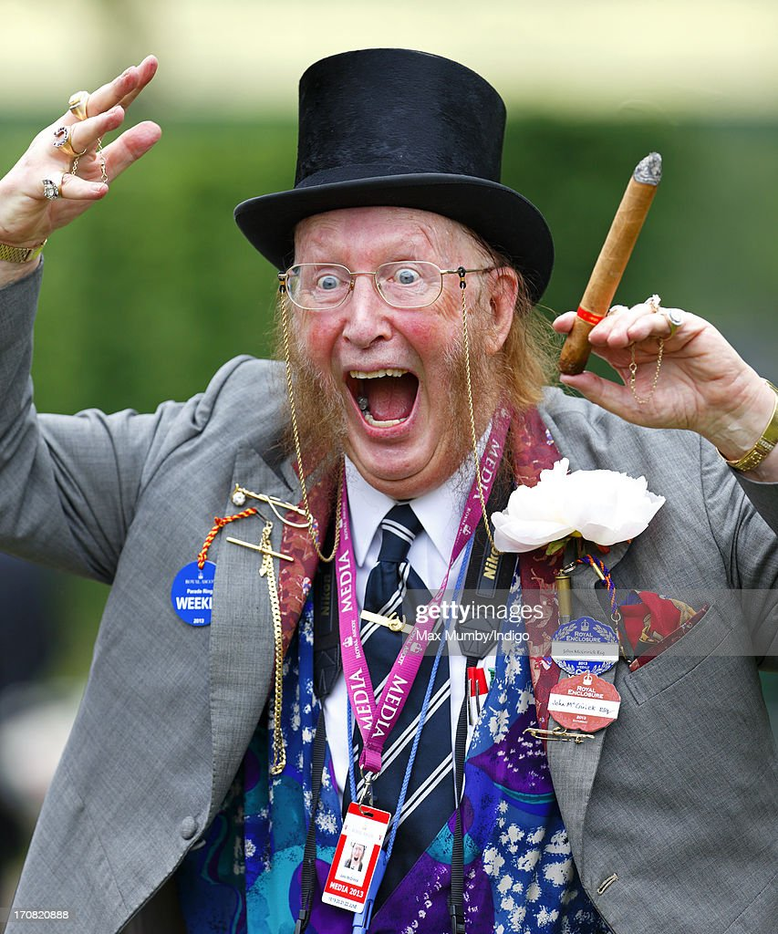 <a gi-track='captionPersonalityLinkClicked' href=/galleries/search?phrase=John+McCririck&family=editorial&specificpeople=210994 ng-click='$event.stopPropagation()'>John McCririck</a> attends Day 1 of Royal Ascot at Ascot Racecourse on June 18, 2013 in Ascot, England.