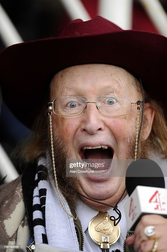 <a gi-track='captionPersonalityLinkClicked' href=/galleries/search?phrase=John+McCririck&family=editorial&specificpeople=210994 ng-click='$event.stopPropagation()'>John McCririck</a> who covers his last racing day for Channel 4 Racing at Newbury racecourse on December 29, 2012 in Newbury, England.
