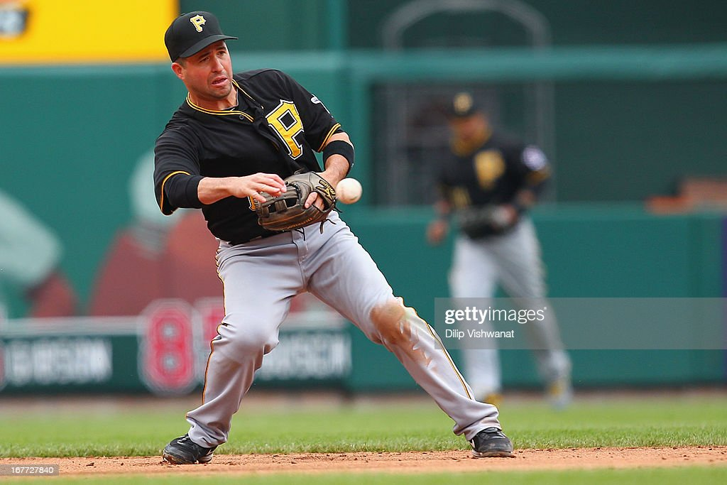 <a gi-track='captionPersonalityLinkClicked' href=/galleries/search?phrase=John+McDonald&family=editorial&specificpeople=215395 ng-click='$event.stopPropagation()'>John McDonald</a> #17 of the Pittsburgh Pirates throws to second base for an out against the St. Louis Cardinals at Busch Stadium on April 28, 2013 in St. Louis, Missouri. The Pirates beat the Cardinals 9-0.