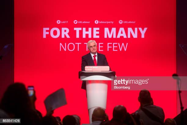 John McDonnell finance spokesman of the UK opposition Labour party speaks during the Labour Party Annual Conference in Brighton UK on Monday Sept 25...