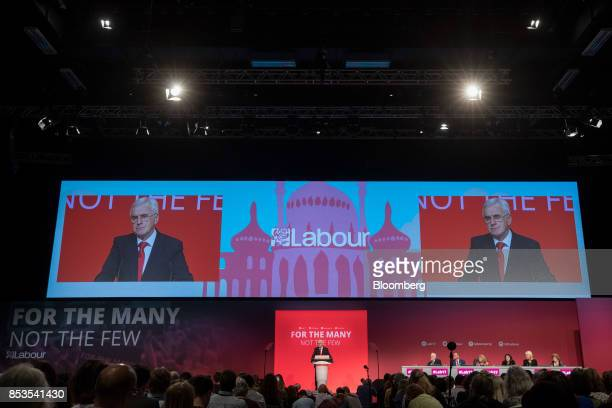 John McDonnell finance spokesman of the UK opposition Labour party speaks at the Labour Party Annual Conference in Brighton UK on Monday Sept 25 2017...