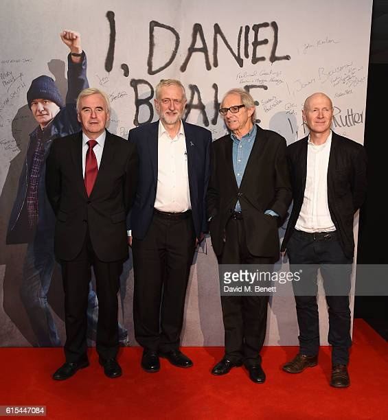 John McDonnell Jeremy Corbyn Ken Loach and Paul Laverty attend the 'I Daniel Blake' People's Premiere at Vue West End on October 18 2016 in London...